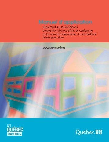 Manuel d'application-Règlement sur les conditions d'obtention d'un ...