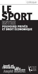 Le sport entre pouvoirs privés et droit économique – Aix-en ...