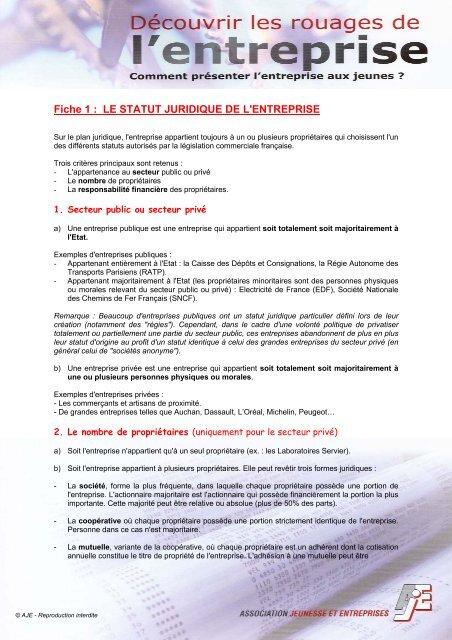 Fiche 1 Le Statut Juridique De L Entreprise Ovh Net