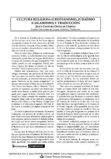 Cultura religiosa (Cristianismo, Judaísmo e Islamismo) y Traducción