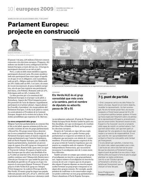 Parlament Europeu: projecte en construcció - Esquerra Republicana ...