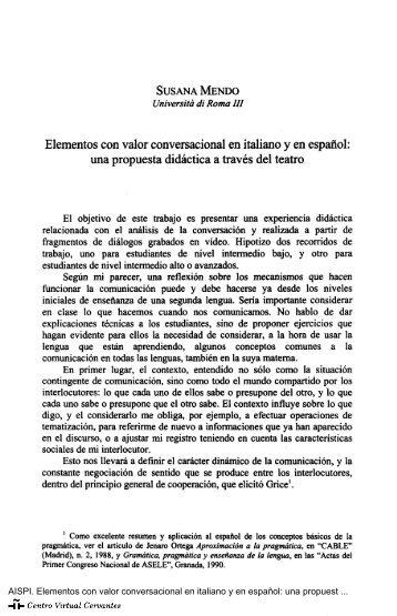 Elementos con valor conversacional en italiano y en español: una ...