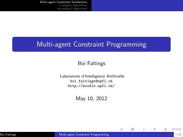 Multi-agent Constraint Programming