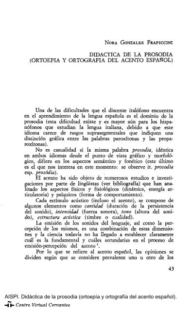 Didáctica De La Prosodia Ortoepía Y Ortografía Del Acento
