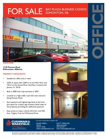 FoR SALE BAY PLAZA BUSINESS CoNDo EDMoNToN, AB