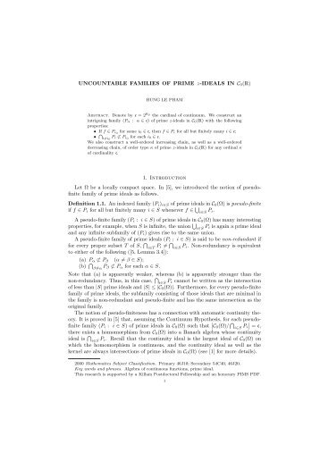 UNCOUNTABLE FAMILIES OF PRIME z-IDEALS IN C0() 1 ...