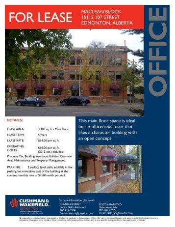 FOR LEASE MACLEAN BLOCK 10112 107 STREET EDMONTON ...