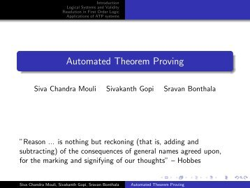 Automated Theorem Proving - Department of Computer Science and ...