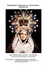 Manifestation ironique pour la « Sainte Valérie » mardi 28 avril - Free