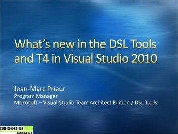 What's new in the DSL Tools and T4 - Code Generation Network