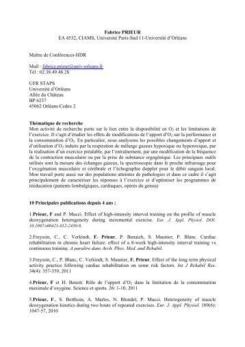 Fabrice PRIEUR EA 4532, CIAMS, Université Paris-Sud 11 ...