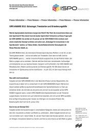ISPO AWARD 2012: Gütesiegel, Trendsetter und Orientierungshilfe