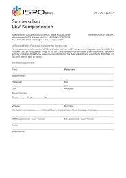 Download Sonderschau LEV Komponenten Anmeldung - Ispo
