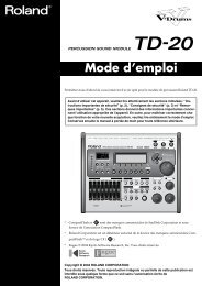 Mode d'emploi Roland TD20K Produit Arrêté - SonoVente