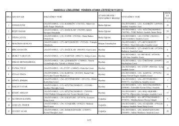 Listeyi görmek için tıklayınız - İstanbul İl Milli Eğitim Müdürlüğü