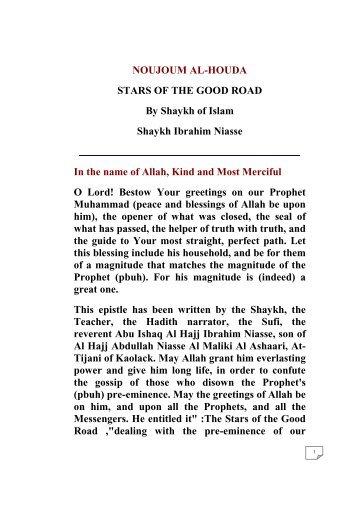 NOUJOUM AL-HOUDA STARS OF THE GOOD ROAD By Shaykh of ...