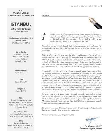 e-İstanbul Dergisini okumak için tıklayınız. - İstanbul İl Milli Eğitim ...