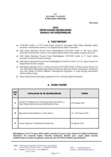 Açıklama - İstanbul İl Milli Eğitim Müdürlüğü - Milli Eğitim Bakanlığı