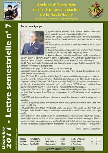 LETTRE semestrielle n°7 décembre 2011 - 'Amicale des anciens d ...