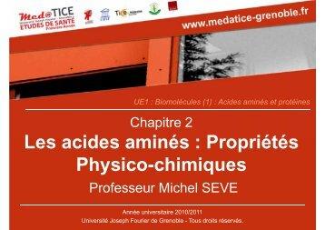 Les acides aminés : Propriétés Physico-chimiques - Université ...