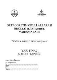İstanbul konulu bilgi yarışmasının yarı final sınavı soru ve cevaplan ...