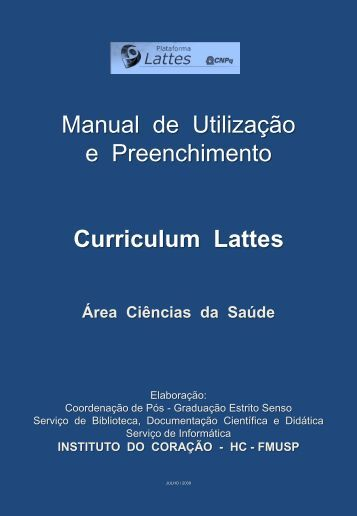 MANUAL DO USUÁRIO DO CURRICULO LATTES - Incor - USP