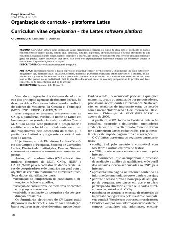 Organização do currículo – plataforma Lattes Curriculum ... - SBPqO