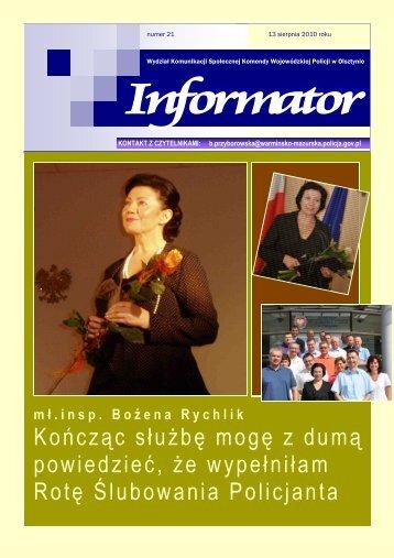 numer 21 - Komenda Wojewódzka Policji w Olsztynie