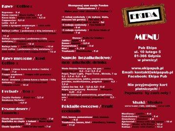Menu PDF - Pub Ekipa Gdynia