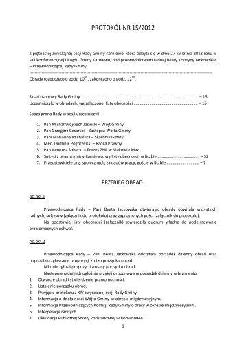 Treść protokołu - Biuletyn Informacji Publicznej - BIP
