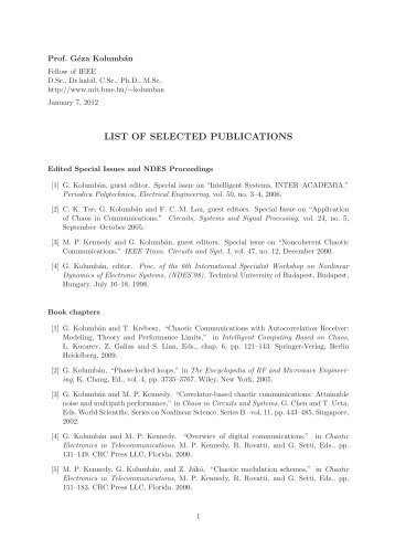 Selected Publications - Department of Electronic and Information ...