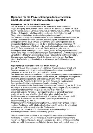 Optionen für die PJ-Ausbildung in Innerer Medizin am St. Antonius ...