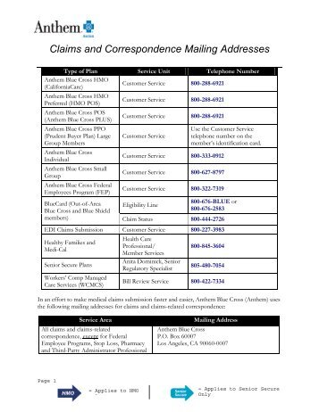Claims and Correspondence Mailing Addresses - Anthem