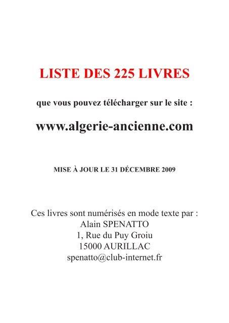Des Liste Ancienne Ouvrages La Algérie QrtshCxd