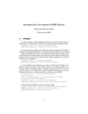 Introducción a las órdenes SNMP básicas - it/aut/UAH
