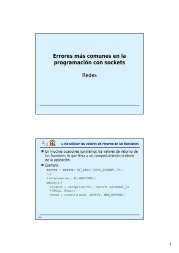 Errores más comunes en la programación con sockets ... - it/aut/UAH