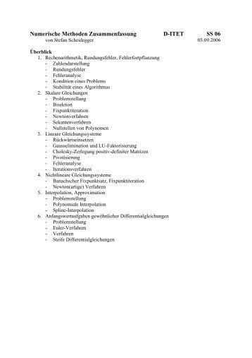 Numerische Methoden Zusammenfassung D-ITET SS 06