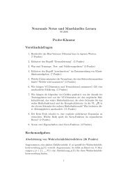 Neuronale Netze und Maschinelles Lernen Probe-Klausur ...