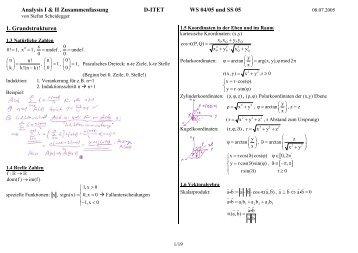 Analysis I & II Zusammenfassung D-ITET WS 04/05 und SS 05 1 ...