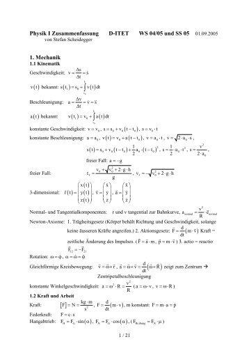 Physik I Zusammenfassung - ITET.ch.vu