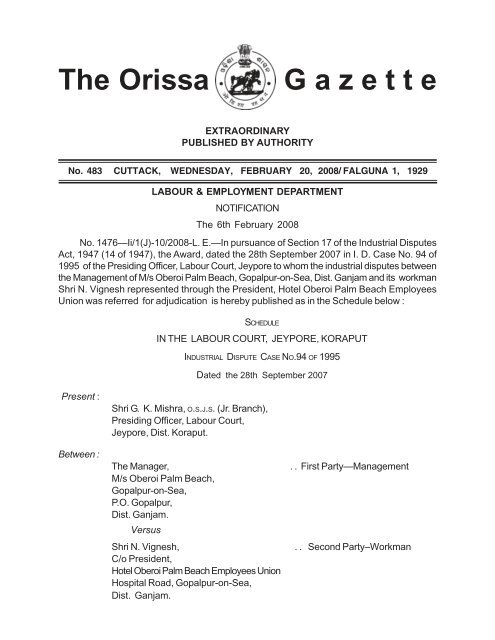 2357-Ex-Gazette AWARD Notification (L. & Employment.p65