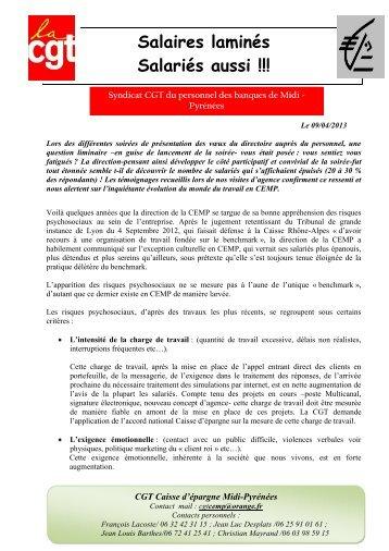 Salaires laminés Salariés aussi !!! - CGT - Caisse d'Epargne
