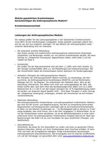 Zur Information des Patienten - Gesellschaft Anthroposophischer ...