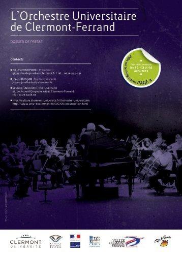 Dossier de presse - Orchestre Universitaire de Clermont-Ferrand