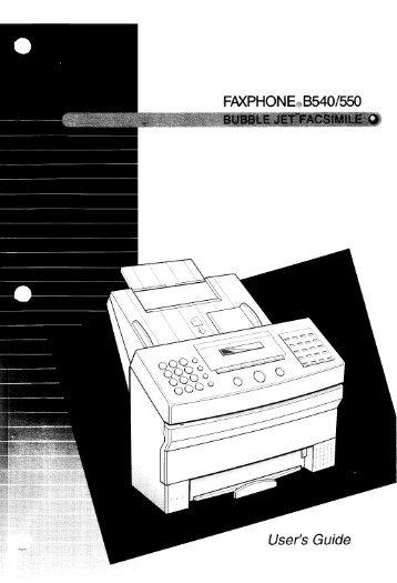 FAXPHONE.B54O/550 User's Guide