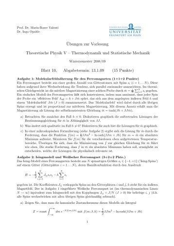 Thermodynamik und Statistische Mechanik Blatt 10, Abgabetermin