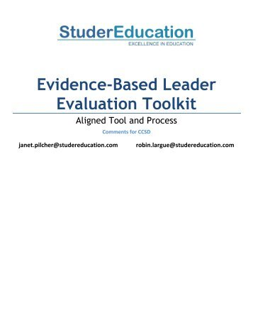 Evidence-Based Leader Evaluation Toolkit