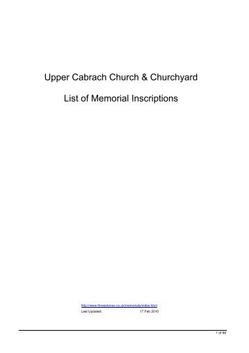 Upper Cabrach Church & Churchyard List of Memorial Inscriptions