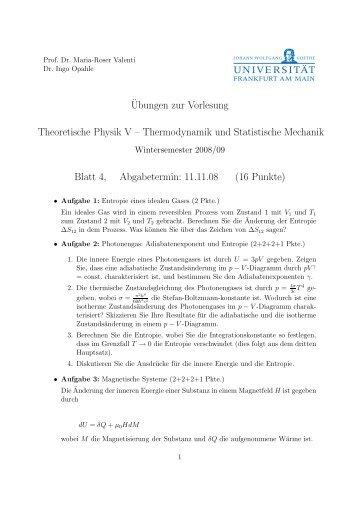 Thermodynamik und Statistische Mechanik Blatt 4, Abgabetermin