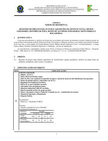 ANEXO I TERMO DE REFERÊNCIA REGISTRO DE PREÇOS ... - Ifam
